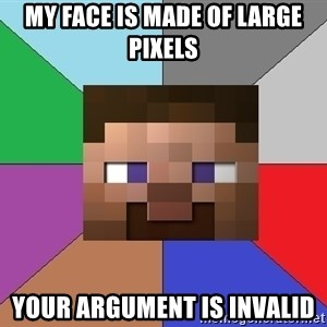 Minecraft-user - My face is made of large pixels Your argument is invalid