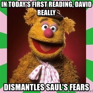 Fozzie Bear - in today's first reading, david really dismantles saul's fears