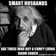 einstein bhai - Smart Husbands are those who buy a comfy living room couch
