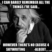 einstein bhai - I can barely remember all the things I've said... However there's no excuse 4 SKYWRITING             -albert
