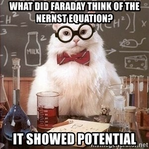 Chemist cat - what did faraday think of the   nernst equation? it showed potential