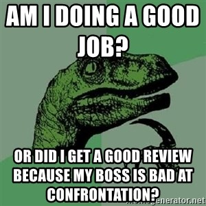 Philosoraptor - Am I doing a good job?                  Or did I get a good review because my boss is bad at confrontation?