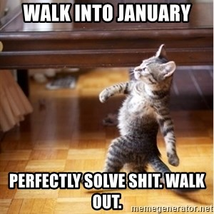walking cat - Walk into January  perfectly solve shit. Walk out.