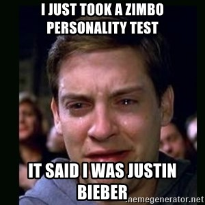 crying peter parker - I just took a zimbo personality test It said i was Justin bieber