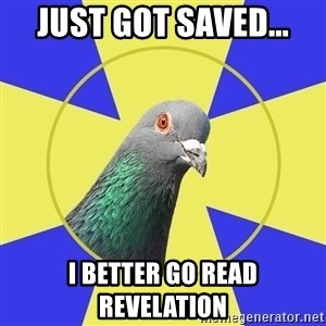 Religion Pigeon - Just got saved... i better go read revelation