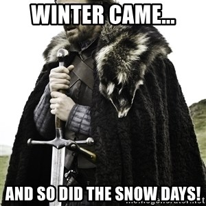 Ned Stark - Winter came... and so did the snow days!