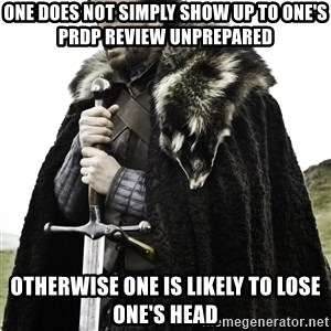 Ned Stark - one does not simply SHOW UP TO ONE'S PRDP REVIEW UNPREPARED otherwise one is likely to lose one's head