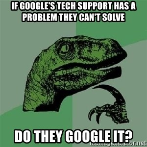 Philosoraptor - If google's tech support has a problem they can't solve Do they google it?