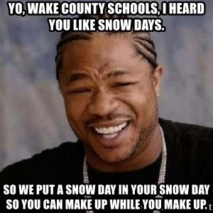 yo dawg nigga - Yo, wake county schools, i heard you like snow days. So we put a snow day in your snow day so you can makE up while you make up.