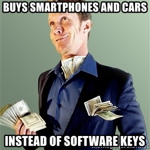 Rich Boy Boss - Buys smartphones and cars Instead of software keys