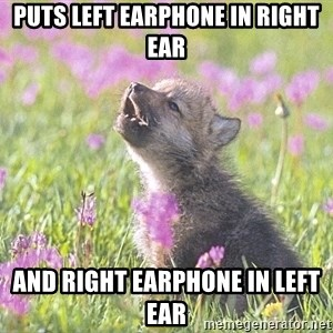Baby Insanity Wolf - Puts left earphone in right ear and right earphone in left ear