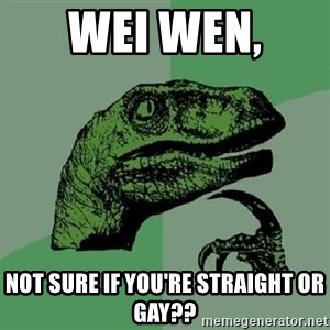 Philosoraptor - Wei wen,  Not sure if you're straight or gay??