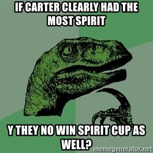 Philosoraptor - if CARTER CLEARLY HAD THE MOST SPIRIT Y THEY NO WIN SPIRIT CUP AS WELL?
