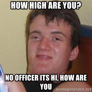 high/drunk guy - HOW HIGH ARE YOU? NO OFFICER ITS HI, HOW ARE YOU