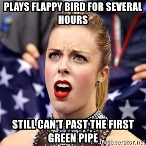 Ashley Wagner Shocker - plays flappy bird for several hours still can't past the first green pipe