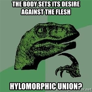 Philosoraptor - The body sets its desire against the flesh Hylomorphic union?