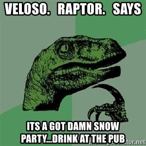Philosoraptor - Veloso.   Raptor.   Says  Its A Got Damn Snow Party...drink at The Pub