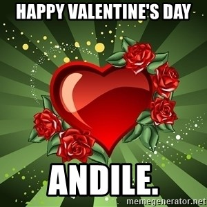 """""""you don't have to get me anything for Valentines day"""" - Happy Valentine's Day Andile."""