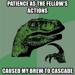 Philosoraptor - Patience as the fellow's actions caused my brew to cascade