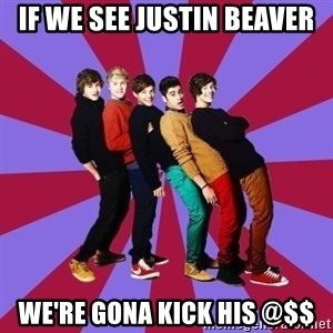 typical 1D - if we see Justin beaver we're gona kick his @$$