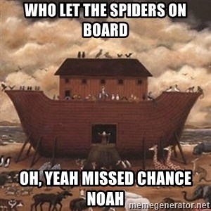 Noah's Ark - who let the spiders on board Oh, yeah missed chance Noah