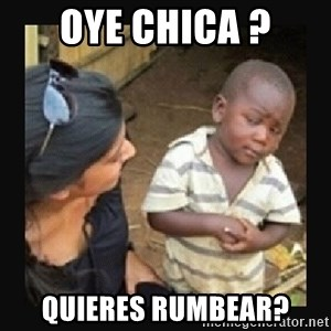 African little boy - oye chica ? quieres rumbear?