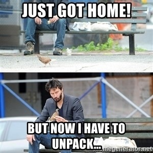Sad Keanu - Just got home! But now I have to unpack...