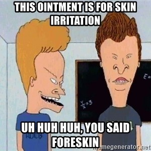 Beavis and butthead - this ointment is for skin irritation uh huh huh, you said foreskin
