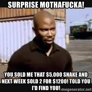 James Doakes surprise - SURPRISE MOTHAFUCKA! you sold me that $5,000 snake and next week sold 2 for $1200! told you I'd find you!
