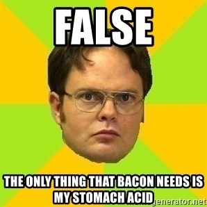 Courage Dwight - False the only thing that bacon needs is my stomach acid