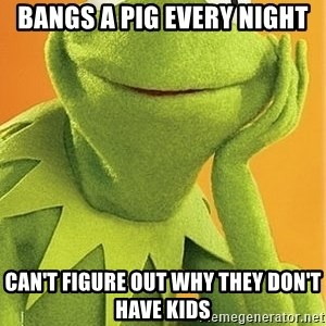 Kermit the frog - bangs a pig every night can't figure out why they don't have kids