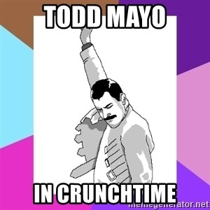 Freddie Mercury rage pose - todd mayo in crunchtime