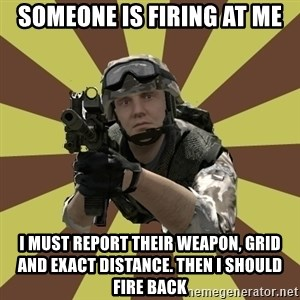 Arma 2 soldier - someone is firing at me i must report their weapon, grid and exact distance. Then i should fire back