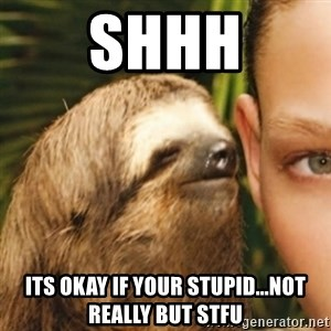 Whispering sloth - shhh its okay if your stupid...not really but stfu