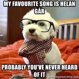 hipster dog - My favourite song is helan går probably you've never heard of it