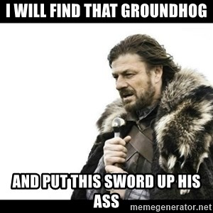 Winter is Coming - i will find that groundhog and put this sword up his ass