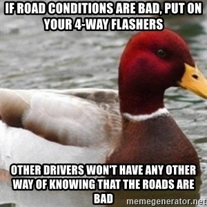 Bad Advice Mallard - if road conditions are bad, put on your 4-way flashers other drivers won't have any other way of knowing that the roads are bad
