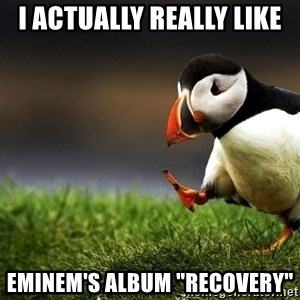 "Unpopular Opinion Puffin dupe - i actually really like eminem's album ""recovery"""
