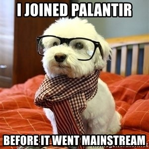 hipster dog - I JOINED PALANTIR BEFORE IT WENT MAINSTREAM