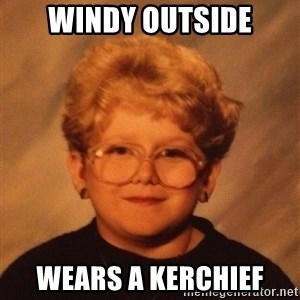 60 Year-Old Girl - windy outside wears a kerchief