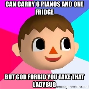 Animal Crossing - can carry 6 pianos and one fridge but god forbid you take that ladybug