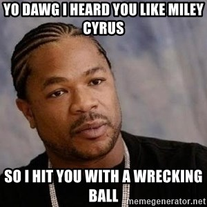 Yo Dawg - yo dawg i heard you like miley cyrus so i hit you with a wrecking ball