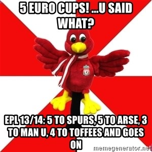 Liverpool Problems - 5 euro cups! ...u said what? epl 13/14: 5 to spurs, 5 to arse, 3 to man u, 4 to toffees and goes on