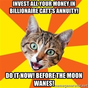 Bad Advice Cat - invest all your money in billionaire catt's annuity! do it now! before the moon wanes!