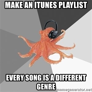 Musicnerdoctopus - make an itunes playlist every song is a different genre