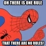 Spiderman - Oh there is one rule that there are no rules!