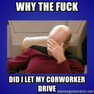 Picard facepalm  - why the fuck did i let my corworker drive