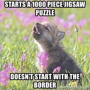 Baby Insanity Wolf - Starts a 1000 piece jigsaw puzzle doesn't start with the border