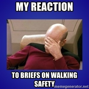Picard facepalm  - my reaction to briefs on walking safety