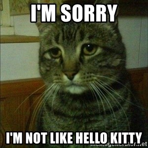 Depressed cat 2 - I'm sorry I'm not like hello kitty